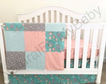 Ready To Ship Woodland Baby Girl Crib Bedding Animals Tee Pee Aqua Coral Mint Teal Nursery Bedding Patchwork Blanket Crib Skirt Sheet