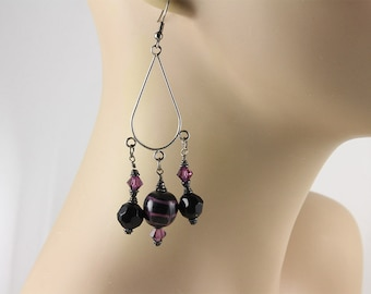 Murano Earrings, Fenicio Murano Earrings, Murano Chandelier Earrings, Black Chandelier Earrings, Black Earrings, Murano Glass