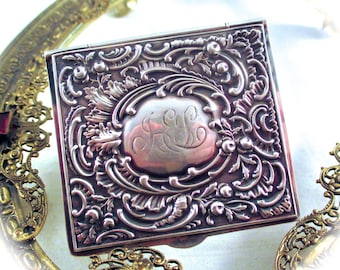 Antique Victorian STERLING CARD HOLDER Repousse Sterling Silver Art Nouveau Paper Note Holder, Stamp or Cigarette Papers