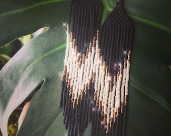 """Matte Black, White and Gold """"Stacy"""" Handwoven Fringe Delica Seed Bead Small """"v"""" Earrings"""