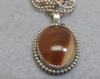 1960s Sterling and Montana Agate Pendant Necklace, 24 Inch Sterling Bead Chain