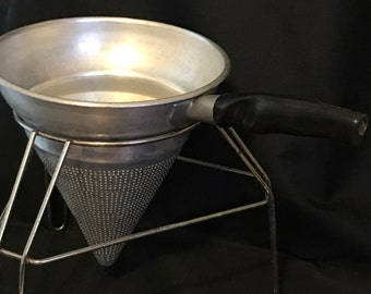 Vintage Strainer Mid Century Aluminum and Stand for Canning SALE PRICE was 21.00 now 18.00