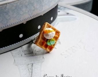 Square ring polymer clay lemon waffle ring