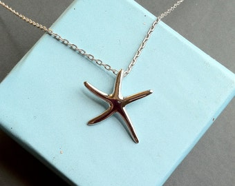 Starfish Necklace, sterling silver delicate necklace, bridesmaid necklace, bridal party gifts, beach wedding