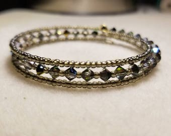 Memory wire bracelets with crystals