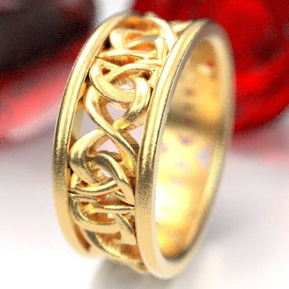Gold Wedding Ring With Celtic Woven Dara Knotwork Design in 10K 14K 18K Gold, Made in Your Size CR-5008