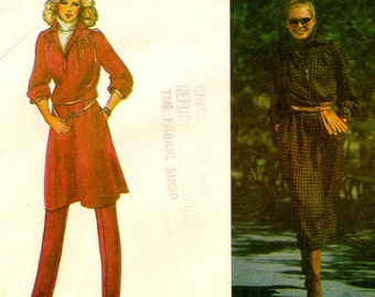 """A Blouson, Pullover, Collared, Long Sleeve Dress/Tunic & Tapered, Elastic Waistline Pants Pattern for Women: Size 12, Bust 34"""" • Vogue 7201"""