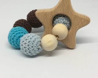 Star wooden beads rattle blue and Brown