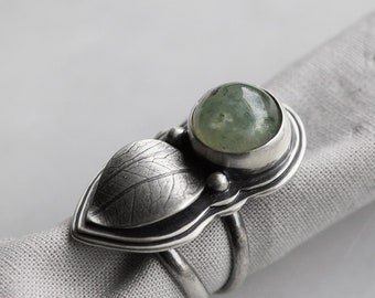 Unfurl Ring. size 5.75 ( green prehnite gemstone ring. antique sterling silver. oxidized leaf print. green nature jewelry )