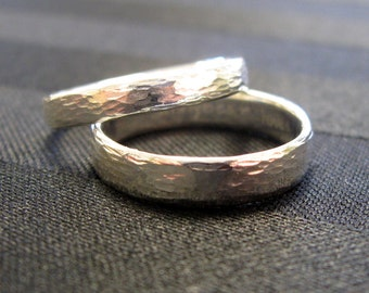 Sterling Silver Hammered Texture simple Wedding band Set by Cristina Hurley