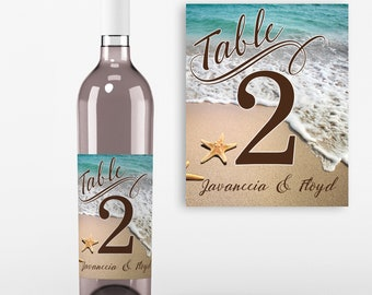 Table Number Wine Labels - Wedding Wine Favors - Table No Wine Labels - Beach Table Decoration - Personalized  Wine Labels - Set of 4