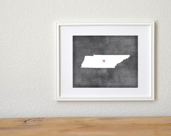 Tennessee Chalkboard State Map Customizable Art Print