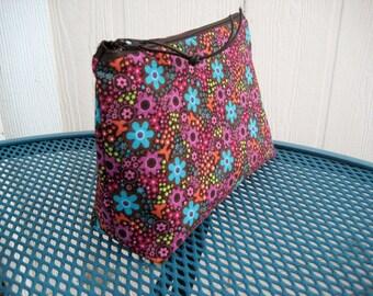 Flat Bottom Zipper  Pouch Purse Bag - Cosmetic bag - large Zip pouch