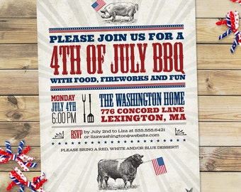 Vintage July 4th Independence Day BBQ Party Invitation, Printable, Evite or Printed (US Only) Invitations