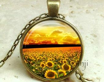 Sunflowers, sunflower pendant, sunflower necklace, sunflower jewelry, sunflower photo pendant, sunflowers, Pendant #SP155BR