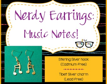 Music note earrings | Music Earrings | musical notes | Music jewelry | band geek | Nerd Jewelry | Geek Jewelry | Music Gift | Music Teacher