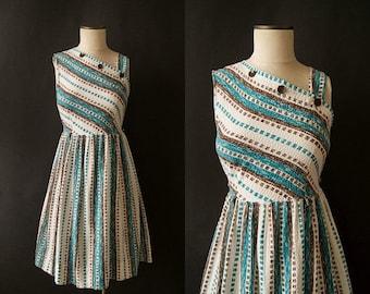 SEMI ANNUAL SALE vintage 1950s dress / 50s one shoulder sundress / small-med / Coastal Dress