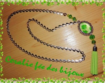Necklace lucky Shamrock 4 leaf tassel, Crystal and chain hearts