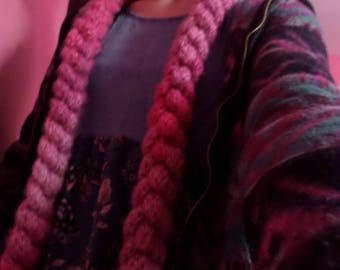 Pink finger/loom knit scarf-100% of the proceeds go to the ASPCA