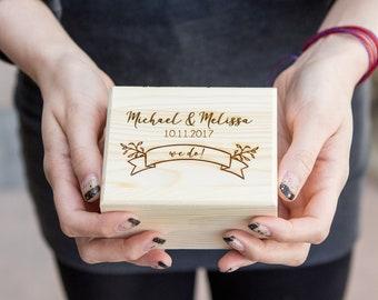 Custom Engraved Ring Bearer Wood Box ( Ring Box , Engagement Ring Box , Small Gift Box , Tiny Personalized Storage Box )