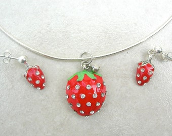 """SUMMER Strawberry Bling, Rhinestone Strawberry Pendant & Earrings, Sterling Silver Necklace, """"Edible"""" Series, Necklace Set by SandraDesigns"""