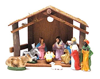 Nativity, Vintage, Creche, Holiday Decor, Chalk Ware Composition, Hand-painted, Christmas, Religious, Christian, Jesus, Japan, c1970
