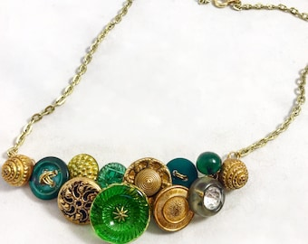 Vintage Emerald Green  and Gold Button Necklace