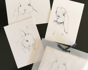 Notecards with envelopes - 3 pack of various images - Rabbit Sketchbook Series 1