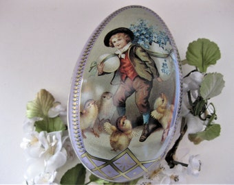 Vintage Tin Easter Egg Box, Victorian, Chicks and Boy with Giant Egg, Lavender