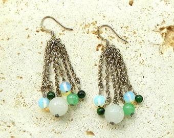 Jade and Opalite Earrings