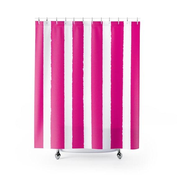 Magenta Shower Curtain . Magenta Striped Shower Curtain . Modern Pink Shower Curtain . Shower Curtain . Fuchsia Striped Shower Curtain