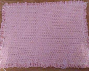 Pink & white baby blanket