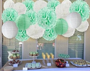 14 Pcs Mint  Wedding Decorations White Mint Tissue Paper Pom Poms Flowers Paper Lanterns Tissue Paper Honeycomb Balls  Birthday Party Decor