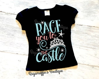 Race you to the castle shirt, princess shirt, castle shirt, girls princess shirt, toddler princess shirt, girls vacation shirt,