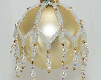 Beaded Herringbone ribbons encrusted with Swarovski crystals pearls create Victorian ornament called Ribbons on Ice - PDF Beading Pattern