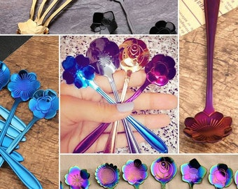 Bouquet of 8 Flower Tea Spoons **NEW COLORS**