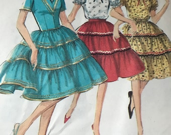 Cute Blouse and Tiered Skirt, Square Dance Outfit---Simplicity 5545---Size 12  Bust 32 UNCUT
