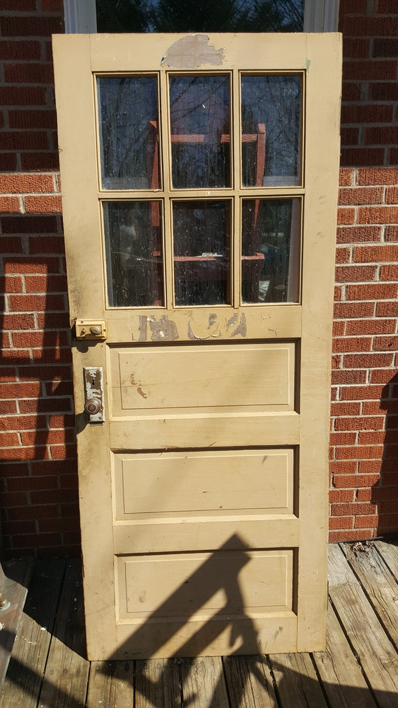 Old Wood Exterior Door 6 Pane Window 3 Panel Wood Window Door