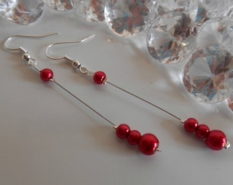 Dangle wedding Pearl Earrings Pearl intense red