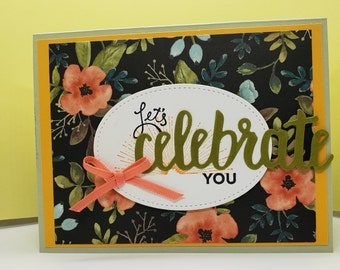 Handmade Mother's Card- Stampin Up Card- Let's Celebrate You Card- Floral Card-Let's celebrate YOU Greeting Card- Mother's Day Greeting Card