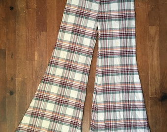 vintage 70s plaid madras bell bottom talon zip fly pants 28 x 28
