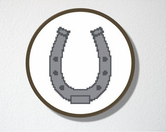 Counted Cross stitch Pattern PDF. Instant download. Lucky Horseshoe. Includes beginner instructions.