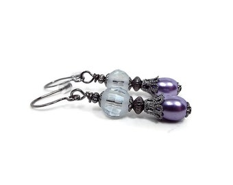 Purple Earrings, Faux Pearl Earrings, Purple and Gray, Lever Back, Hook Pierced,  Screw Back Earrings, Prom Formal