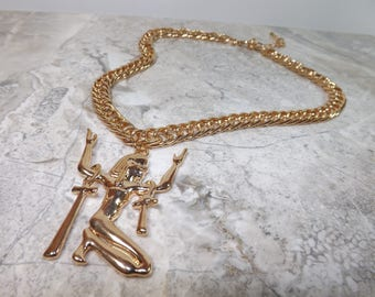 Breath of Life - Golden Ankh Pharaoh Chain Necklace