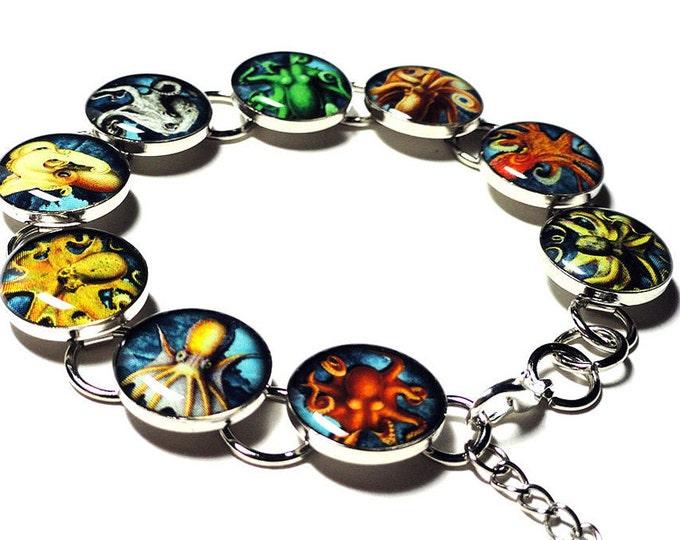 Nautical Octopus Bracelet, Handmade Resin Bracelet, Mollusk, Resin Jewelry, Handmade Bracelet, Ocean, Sea Creature, Resin Jewelry