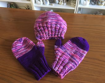 Handmade Adult Hat and Gloves Set