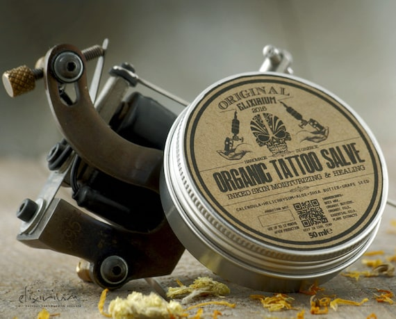 ORGANIC TATTOO SALVE • Tattoo aftercare treatment cream for ink healing and vivid colours. • Elixirium Organic SkinCare