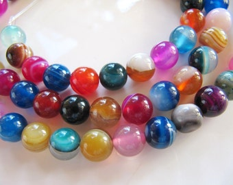 AGATE Beads in Blue, Red, Green, Amber and Purple, Color Mix, 7mm to 8mm, 1 Strand, Approx 47 Beads, Round Smooth Gemstones, Dyed