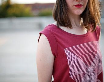 Cap Sleeve Tee Women, Clothing Gift for Mom, BLACKBIRDSUPPLY SALE, Red Geometric Graphic Tee