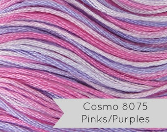 COSMO Seasons Embroidery Floss - No. 8075 Pink and Lavender| Lecien Cosmo 6 Strand Cotton Variegated Embroidery Thread